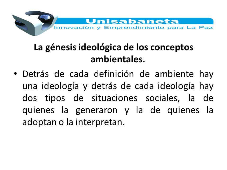 La génesis ideológica de los conceptos ambientales. Detrás de cada definición de ambiente hay una ideología y detrás de cada ideología hay dos tipos d
