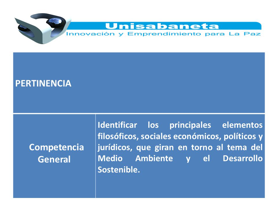 PERTINENCIA Competencia General Identificar los principales elementos filosóficos, sociales económicos, políticos y jurídicos, que giran en torno al t