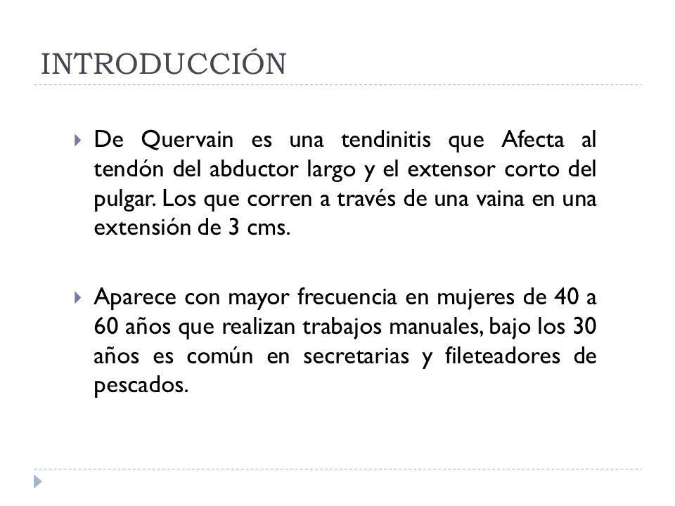 INTRODUCCIÓN De Quervain es una tendinitis que Afecta al tendón del abductor largo y el extensor corto del pulgar. Los que corren a través de una vain