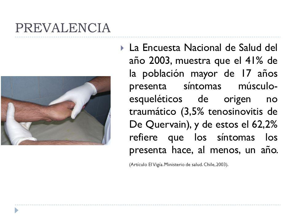 INCIDENCIA En Chile alrededor de 6 millones de personas trabajan, por lo tanto 1 de cada 180.000, presentan alguna complicación asociada a la tenosinovitis de De Quervain.