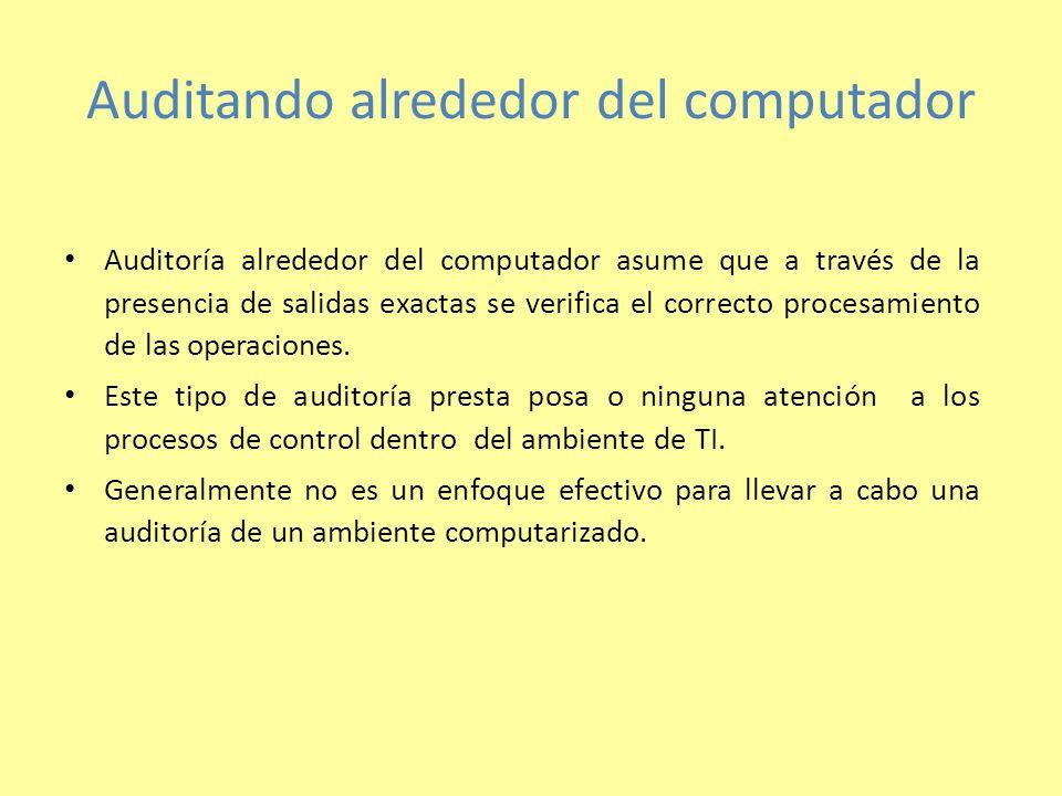 Auditando alrededor del computador Auditoría alrededor del computador asume que a través de la presencia de salidas exactas se verifica el correcto pr