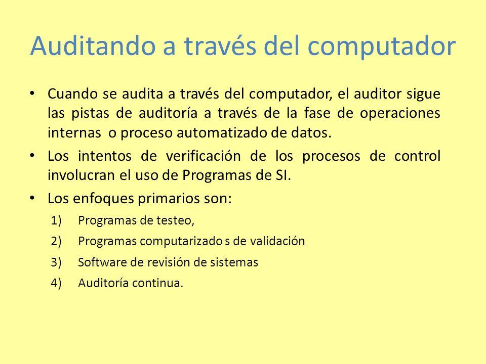 Auditando a través del computador Cuando se audita a través del computador, el auditor sigue las pistas de auditoría a través de la fase de operaciones internas o proceso automatizado de datos.