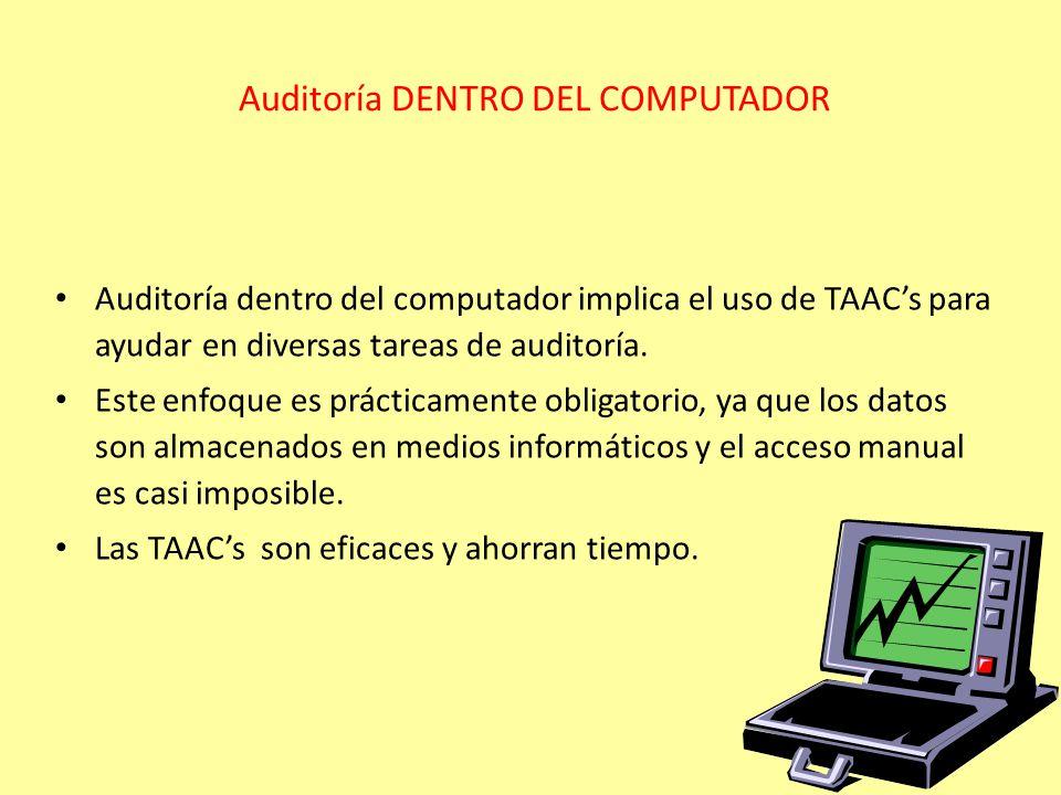 Auditoría DENTRO DEL COMPUTADOR Auditoría dentro del computador implica el uso de TAACs para ayudar en diversas tareas de auditoría. Este enfoque es p