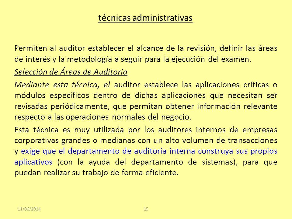 técnicas administrativas Permiten al auditor establecer el alcance de la revisión, definir las áreas de interés y la metodología a seguir para la ejec