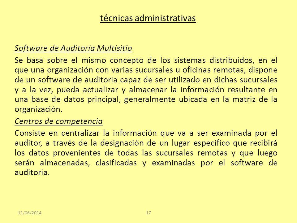 técnicas administrativas Software de Auditoría Multisitio Se basa sobre el mismo concepto de los sistemas distribuidos, en el que una organización con