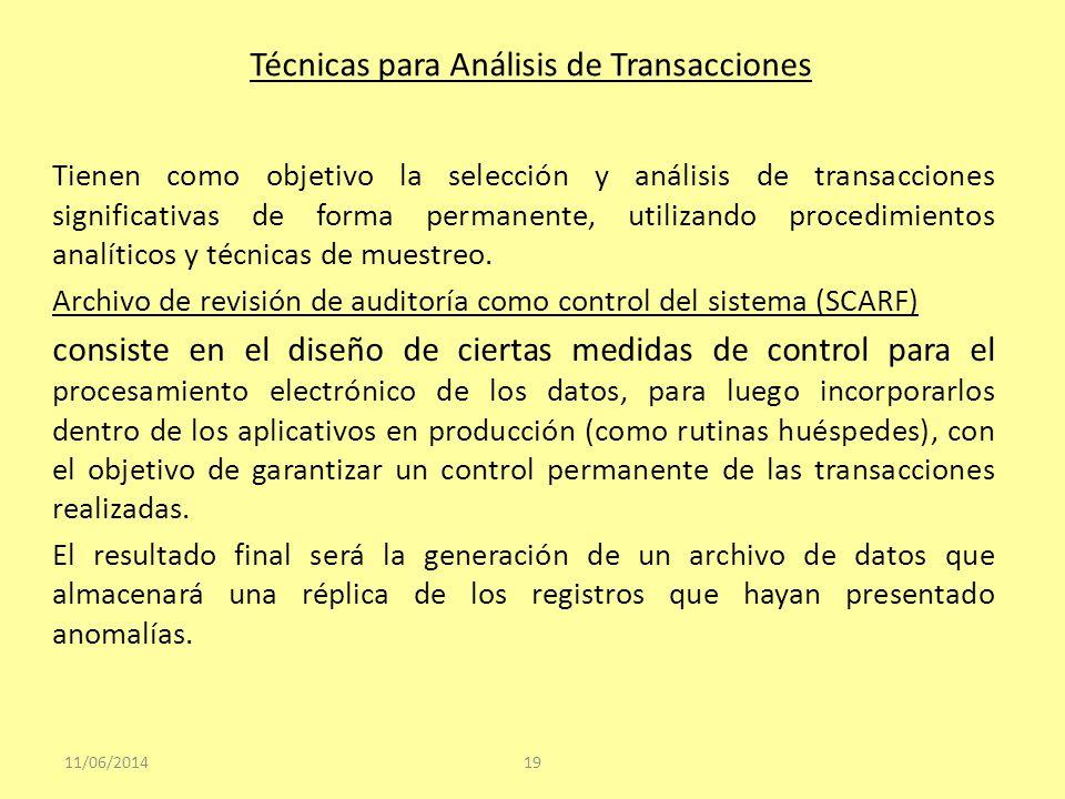 Técnicas para Análisis de Transacciones Tienen como objetivo la selección y análisis de transacciones significativas de forma permanente, utilizando p
