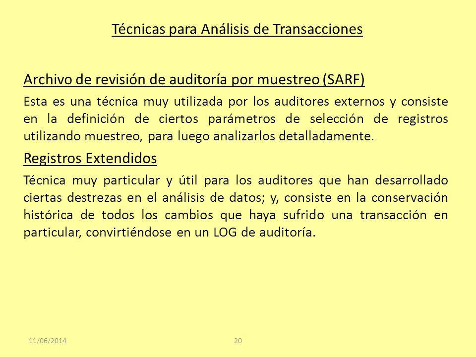 Técnicas para Análisis de Transacciones Archivo de revisión de auditoría por muestreo (SARF) Esta es una técnica muy utilizada por los auditores exter