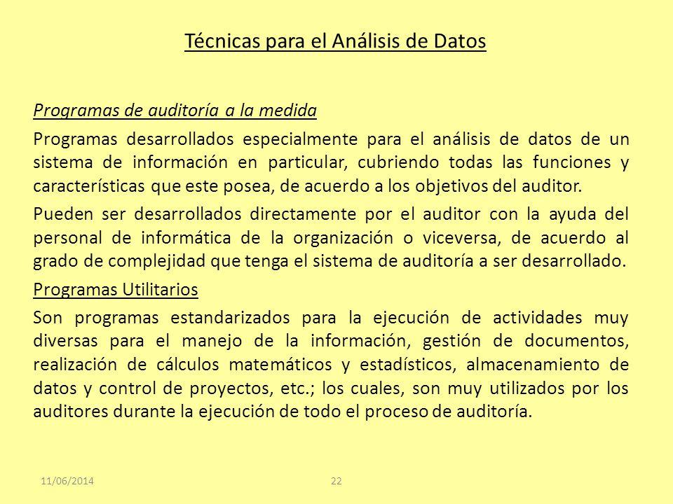 Técnicas para el Análisis de Datos Programas de auditoría a la medida Programas desarrollados especialmente para el análisis de datos de un sistema de