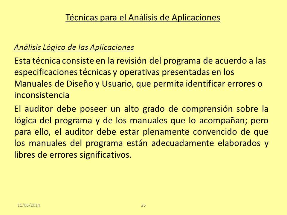 Técnicas para el Análisis de Aplicaciones Análisis Lógico de las Aplicaciones Esta técnica consiste en la revisión del programa de acuerdo a las espec