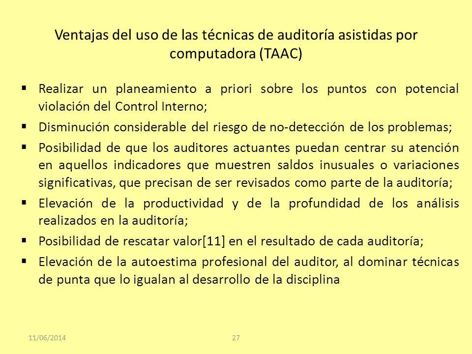 Ventajas del uso de las técnicas de auditoría asistidas por computadora (TAAC) Realizar un planeamiento a priori sobre los puntos con potencial violac