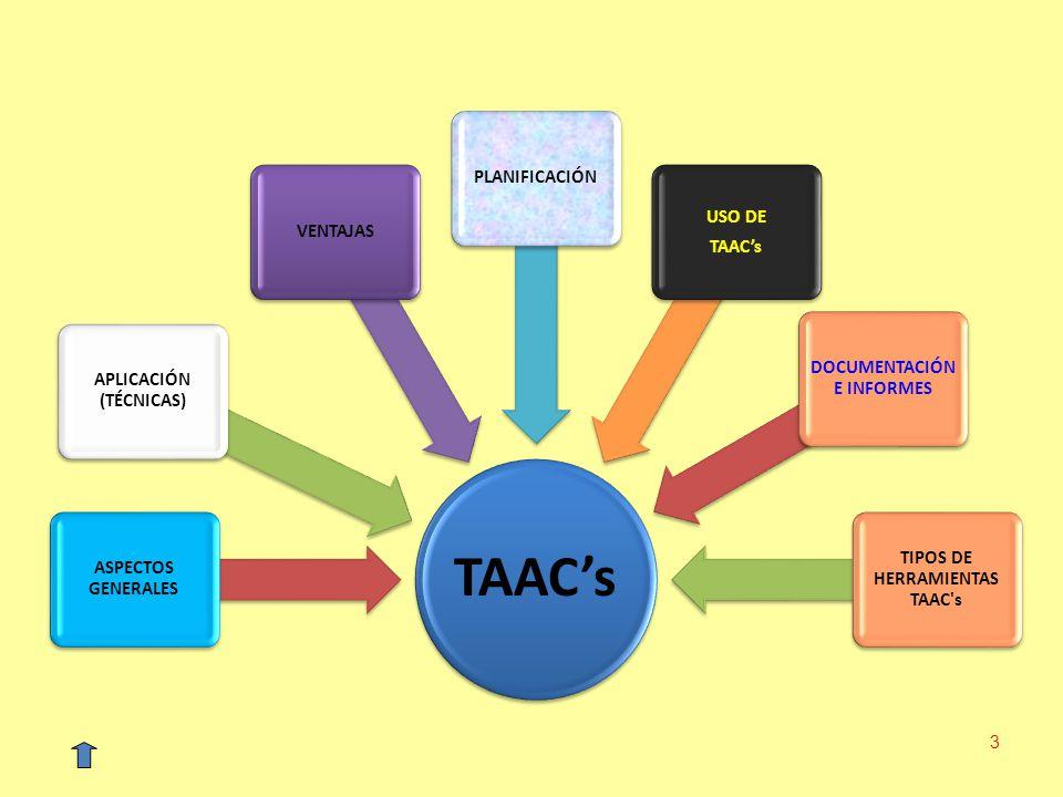 3 TAACs ASPECTOS GENERALES APLICACIÓN (TÉCNICAS) VENTAJASPLANIFICACIÓN USO DE TAACs DOCUMENTACIÓN E INFORMES TIPOS DE HERRAMIENTAS TAAC's
