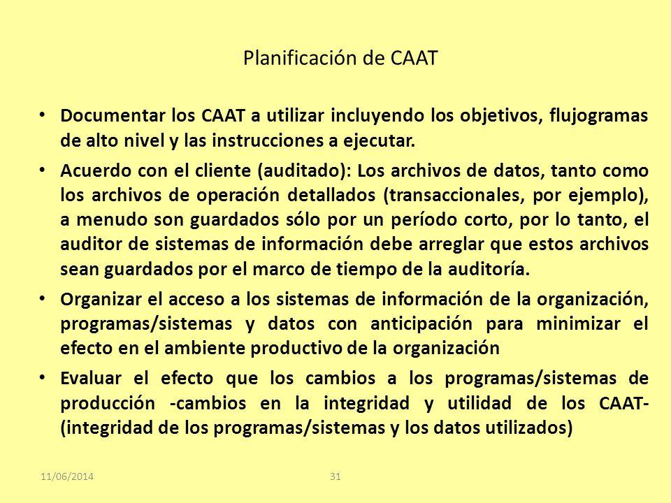 Planificación de CAAT 11/06/201431 Documentar los CAAT a utilizar incluyendo los objetivos, flujogramas de alto nivel y las instrucciones a ejecutar.