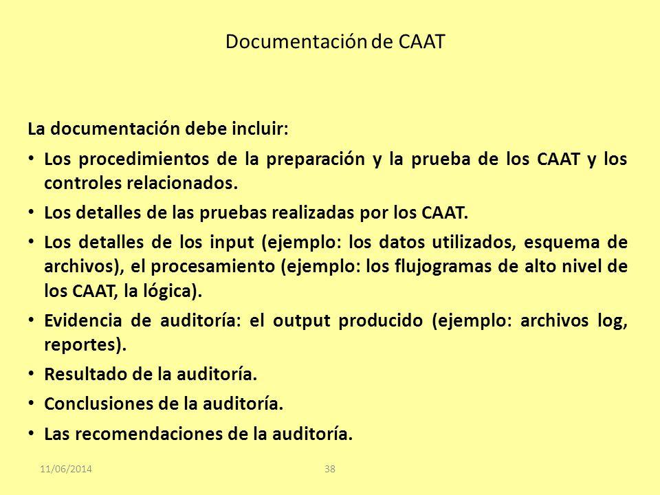Documentación de CAAT 11/06/201438 La documentación debe incluir: Los procedimientos de la preparación y la prueba de los CAAT y los controles relacio