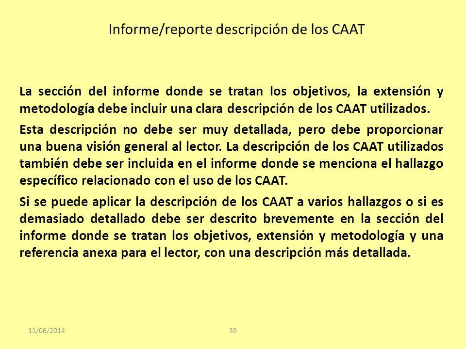 Informe/reporte descripción de los CAAT 11/06/201439 La sección del informe donde se tratan los objetivos, la extensión y metodología debe incluir una