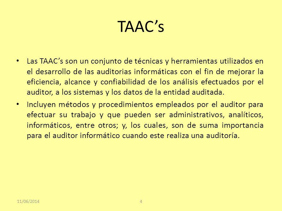 TAACs El uso de los TAACs le permiten al auditor obtener suficiente evidencia confiable sobre el cual, sustentar sus observaciones y recomendaciones, lo que obliga al auditor a desarrollar destrezas especiales en el uso de estas técnicas, tales como: mayores conocimientos informáticos, discernimiento en el uso adecuado de las herramientas informáticas y analíticas, eficiencia en la realización de los análisis, etc.; sin dejar a un lado las técnicas tradicionales de auditoría como son la inspección, observación, confirmación, revisión, entre otros 11/06/20145