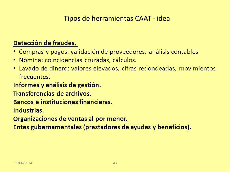 Tipos de herramientas CAAT - idea 11/06/201443 Detección de fraudes. Compras y pagos: validación de proveedores, análisis contables. Nómina: coinciden