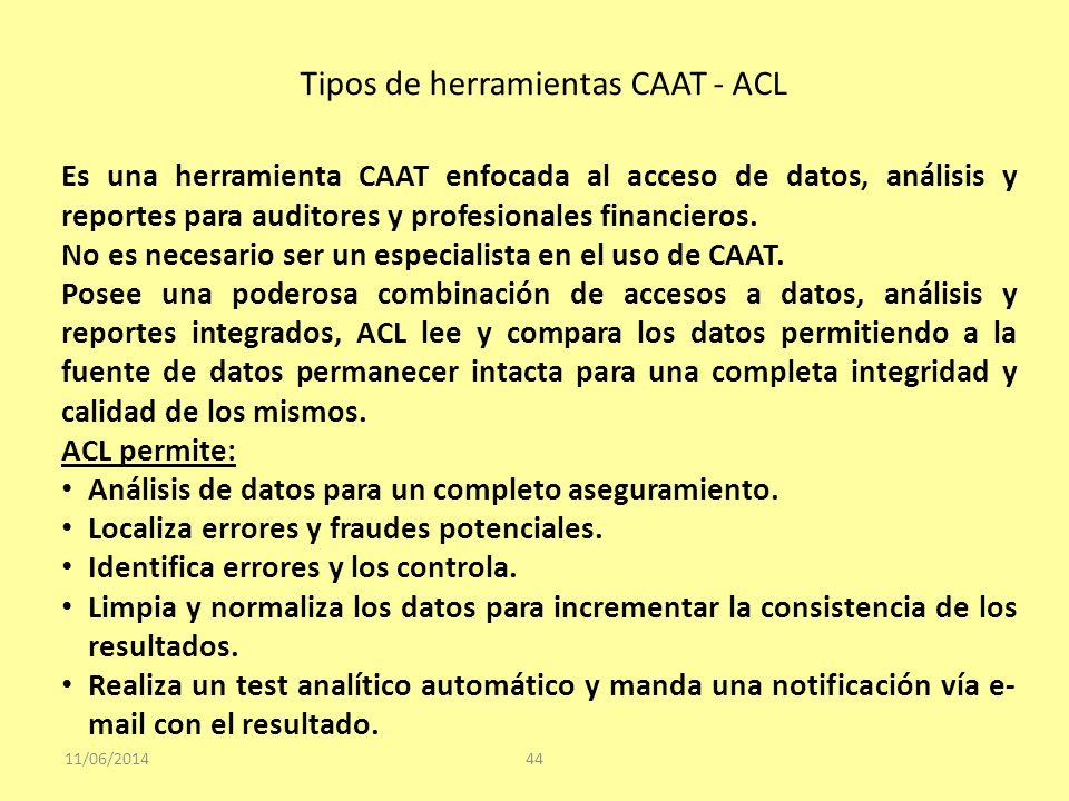 Tipos de herramientas CAAT - ACL 11/06/201444 Es una herramienta CAAT enfocada al acceso de datos, análisis y reportes para auditores y profesionales