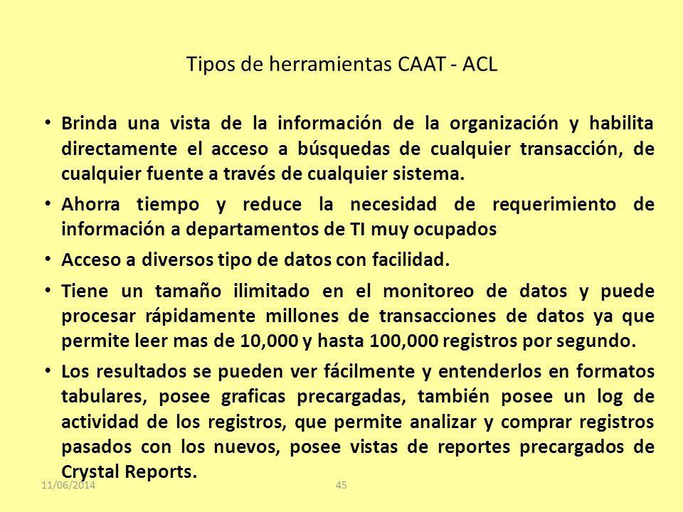 Tipos de herramientas CAAT - ACL 11/06/201445 Brinda una vista de la información de la organización y habilita directamente el acceso a búsquedas de c
