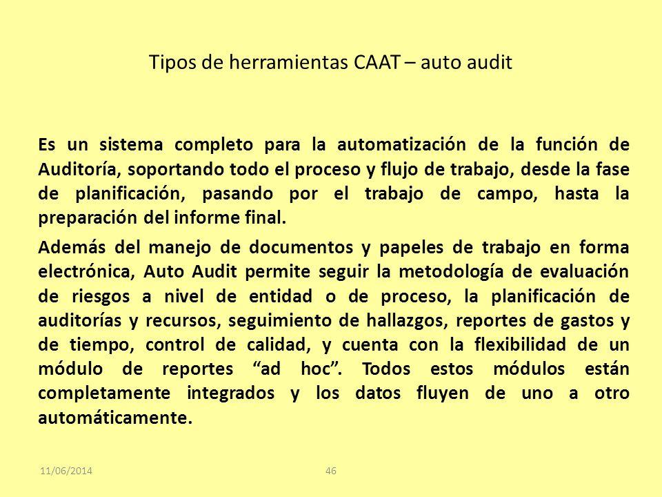 Tipos de herramientas CAAT – auto audit 11/06/201446 Es un sistema completo para la automatización de la función de Auditoría, soportando todo el proc