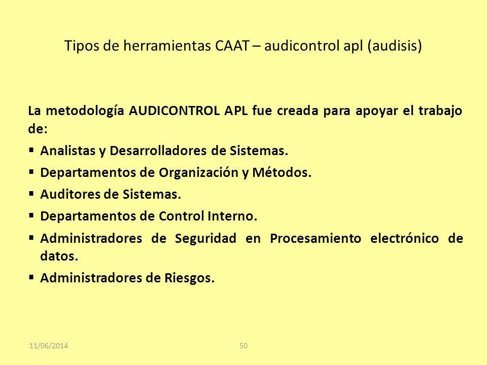 Tipos de herramientas CAAT – audicontrol apl (audisis) 11/06/201450 La metodología AUDICONTROL APL fue creada para apoyar el trabajo de: Analistas y D