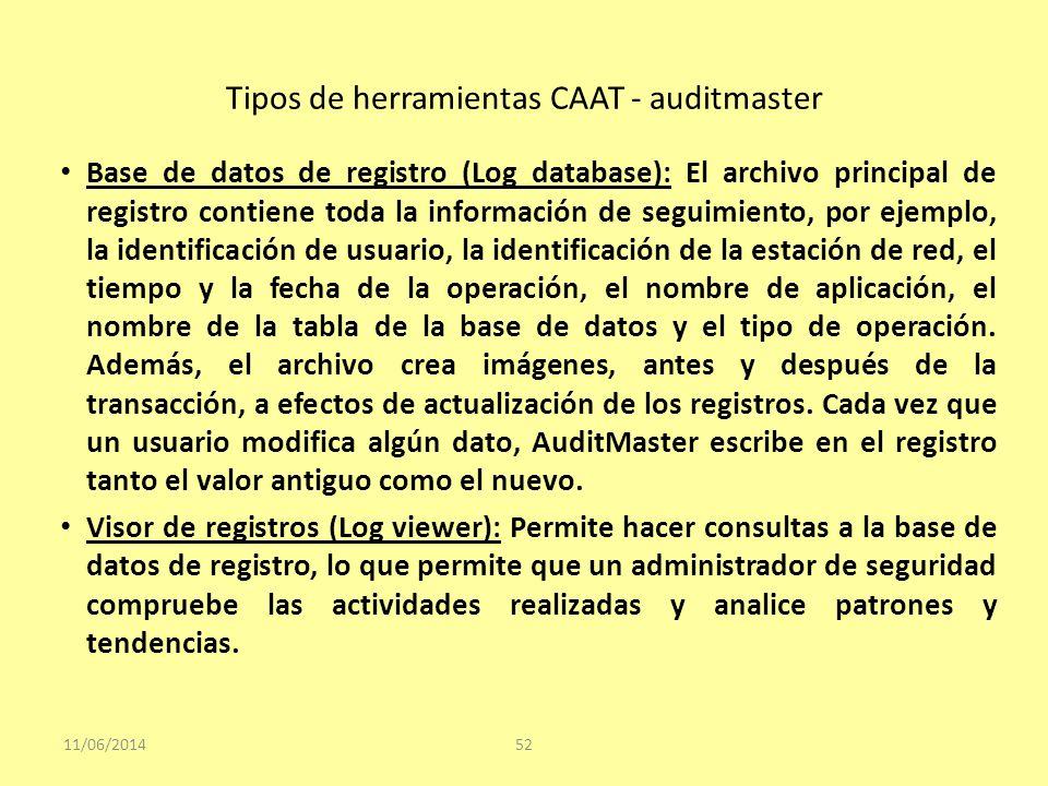 Tipos de herramientas CAAT - auditmaster 11/06/201452 Base de datos de registro (Log database): El archivo principal de registro contiene toda la info