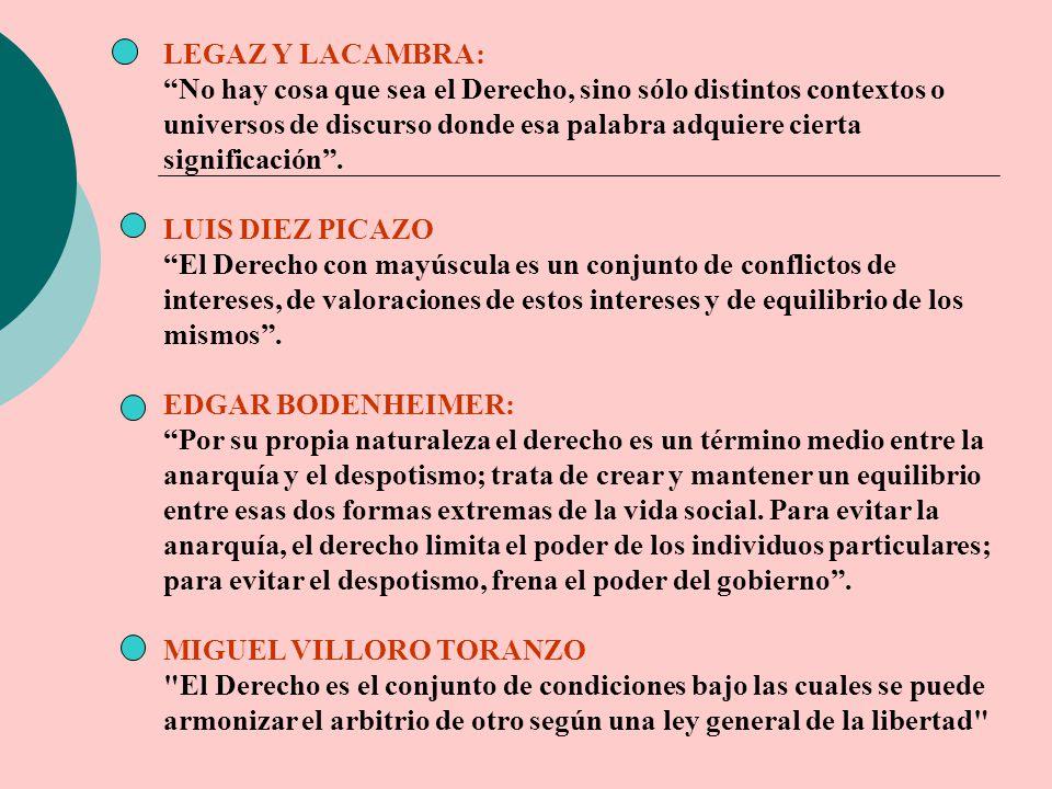 LEGAZ Y LACAMBRA: No hay cosa que sea el Derecho, sino sólo distintos contextos o universos de discurso donde esa palabra adquiere cierta significació