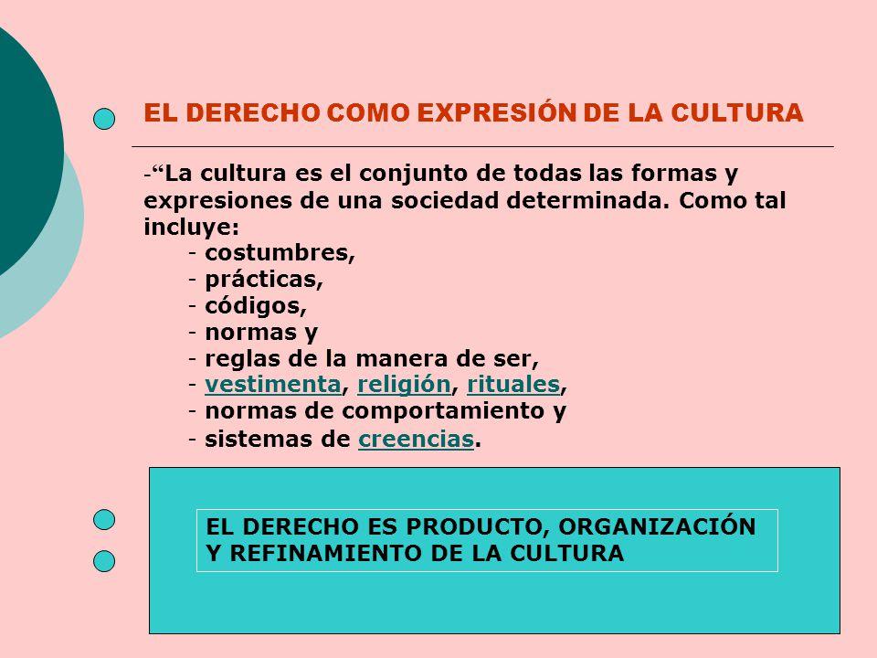 - La cultura es el conjunto de todas las formas y expresiones de una sociedad determinada. Como tal incluye: - costumbres, - prácticas, - códigos, - n
