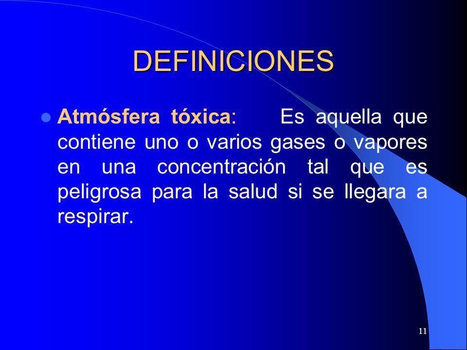 11 DEFINICIONES Atmósfera tóxica: Es aquella que contiene uno o varios gases o vapores en una concentración tal que es peligrosa para la salud si se l
