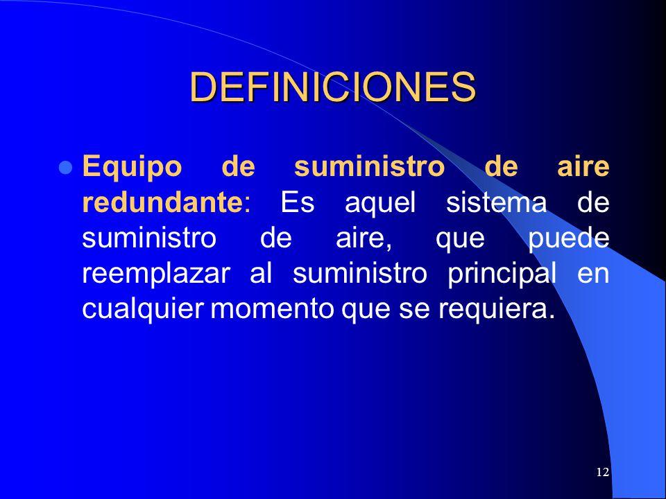 12 DEFINICIONES Equipo de suministro de aire redundante: Es aquel sistema de suministro de aire, que puede reemplazar al suministro principal en cualq