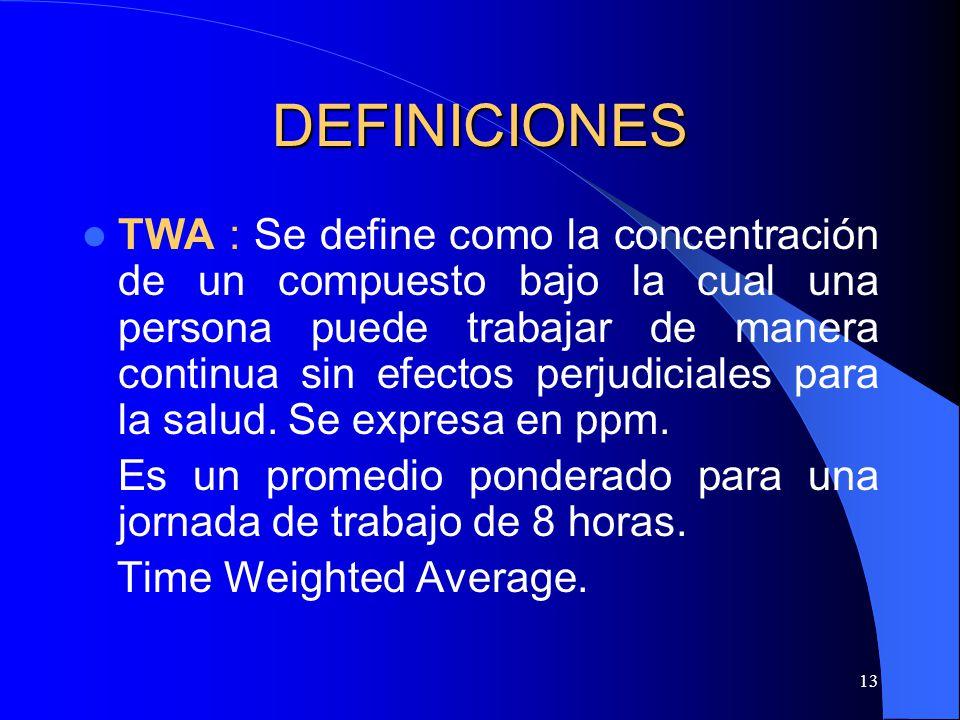 13 DEFINICIONES TWA : Se define como la concentración de un compuesto bajo la cual una persona puede trabajar de manera continua sin efectos perjudici