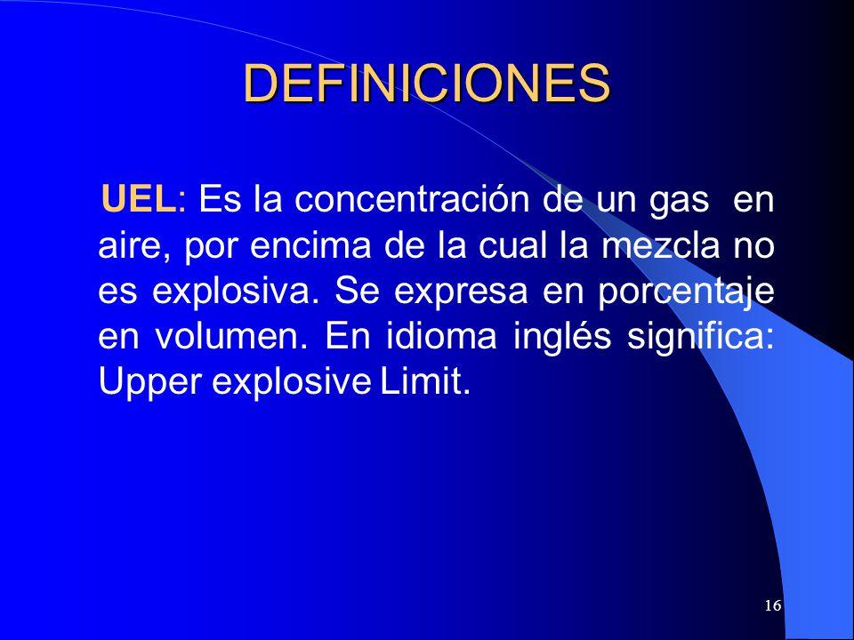 16 DEFINICIONES UEL: Es la concentración de un gas en aire, por encima de la cual la mezcla no es explosiva. Se expresa en porcentaje en volumen. En i