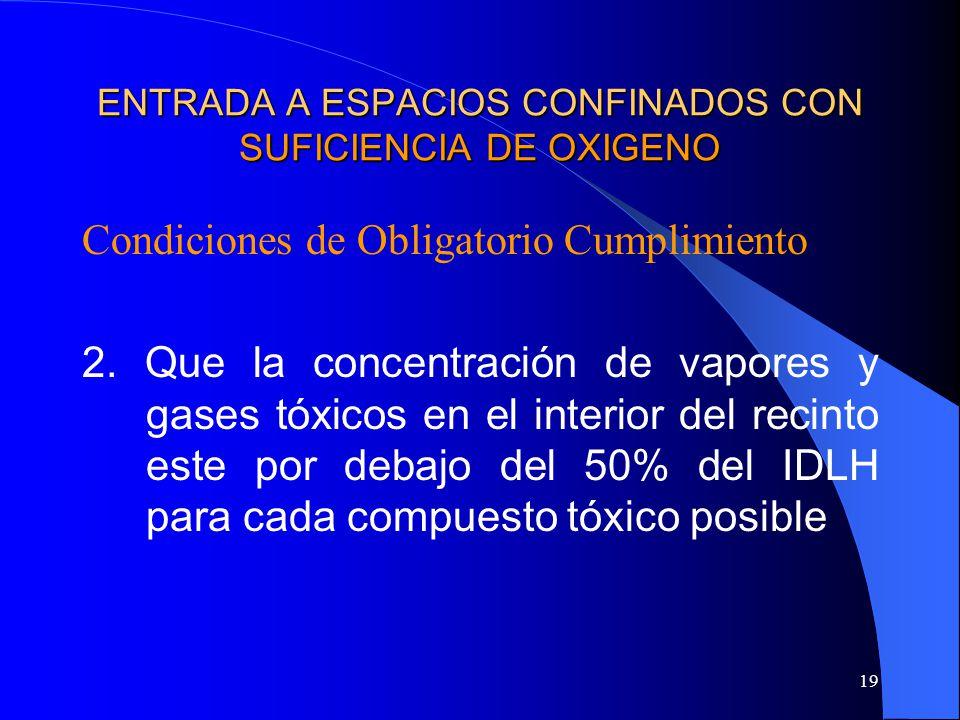 19 ENTRADA A ESPACIOS CONFINADOS CON SUFICIENCIA DE OXIGENO Condiciones de Obligatorio Cumplimiento 2. Que la concentración de vapores y gases tóxicos