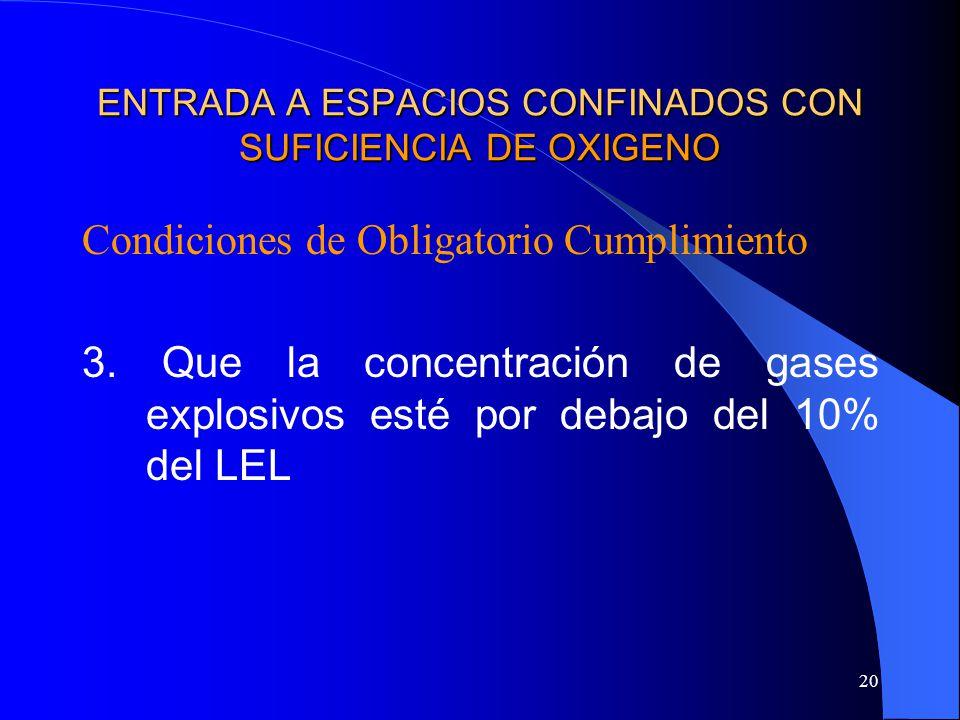 20 ENTRADA A ESPACIOS CONFINADOS CON SUFICIENCIA DE OXIGENO Condiciones de Obligatorio Cumplimiento 3. Que la concentración de gases explosivos esté p