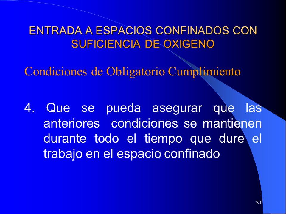 21 ENTRADA A ESPACIOS CONFINADOS CON SUFICIENCIA DE OXIGENO Condiciones de Obligatorio Cumplimiento 4. Que se pueda asegurar que las anteriores condic