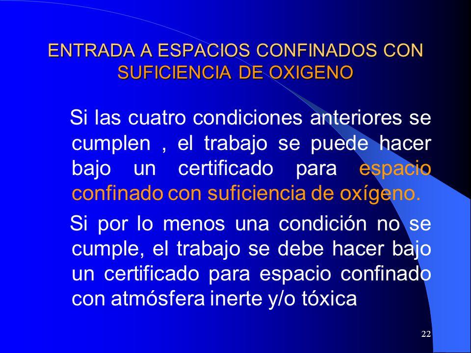 22 ENTRADA A ESPACIOS CONFINADOS CON SUFICIENCIA DE OXIGENO Si las cuatro condiciones anteriores se cumplen, el trabajo se puede hacer bajo un certifi