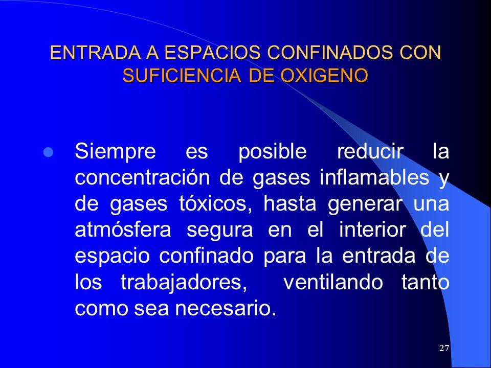 27 ENTRADA A ESPACIOS CONFINADOS CON SUFICIENCIA DE OXIGENO Siempre es posible reducir la concentración de gases inflamables y de gases tóxicos, hasta