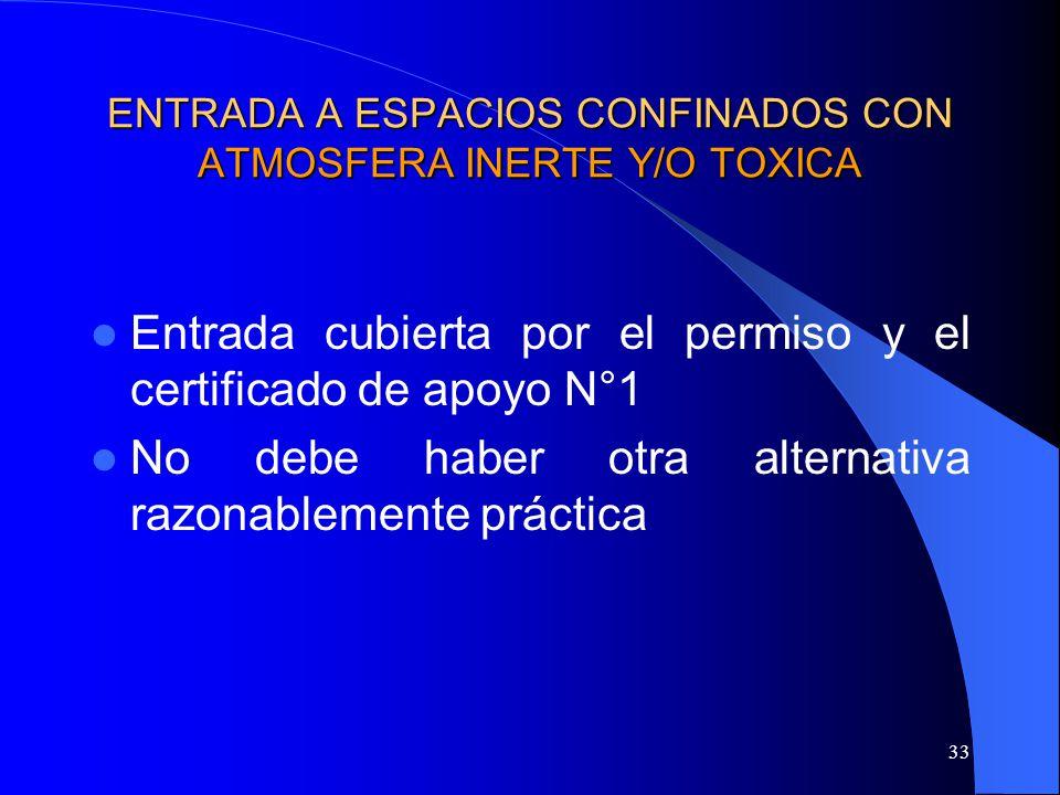 33 ENTRADA A ESPACIOS CONFINADOS CON ATMOSFERA INERTE Y/O TOXICA Entrada cubierta por el permiso y el certificado de apoyo N°1 No debe haber otra alte