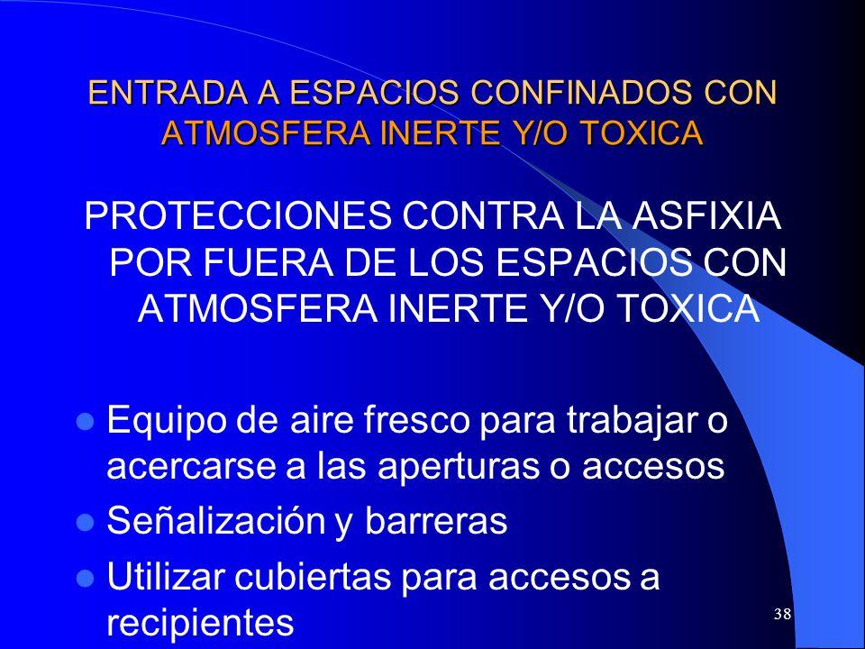 38 ENTRADA A ESPACIOS CONFINADOS CON ATMOSFERA INERTE Y/O TOXICA PROTECCIONES CONTRA LA ASFIXIA POR FUERA DE LOS ESPACIOS CON ATMOSFERA INERTE Y/O TOX