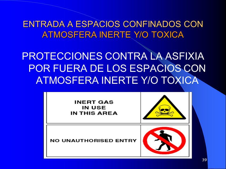 39 ENTRADA A ESPACIOS CONFINADOS CON ATMOSFERA INERTE Y/O TOXICA PROTECCIONES CONTRA LA ASFIXIA POR FUERA DE LOS ESPACIOS CON ATMOSFERA INERTE Y/O TOX