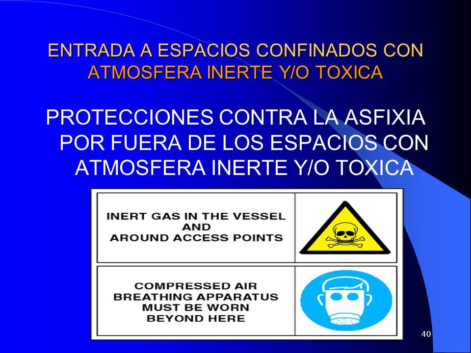 40 ENTRADA A ESPACIOS CONFINADOS CON ATMOSFERA INERTE Y/O TOXICA PROTECCIONES CONTRA LA ASFIXIA POR FUERA DE LOS ESPACIOS CON ATMOSFERA INERTE Y/O TOX