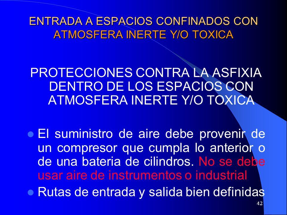 42 ENTRADA A ESPACIOS CONFINADOS CON ATMOSFERA INERTE Y/O TOXICA PROTECCIONES CONTRA LA ASFIXIA DENTRO DE LOS ESPACIOS CON ATMOSFERA INERTE Y/O TOXICA