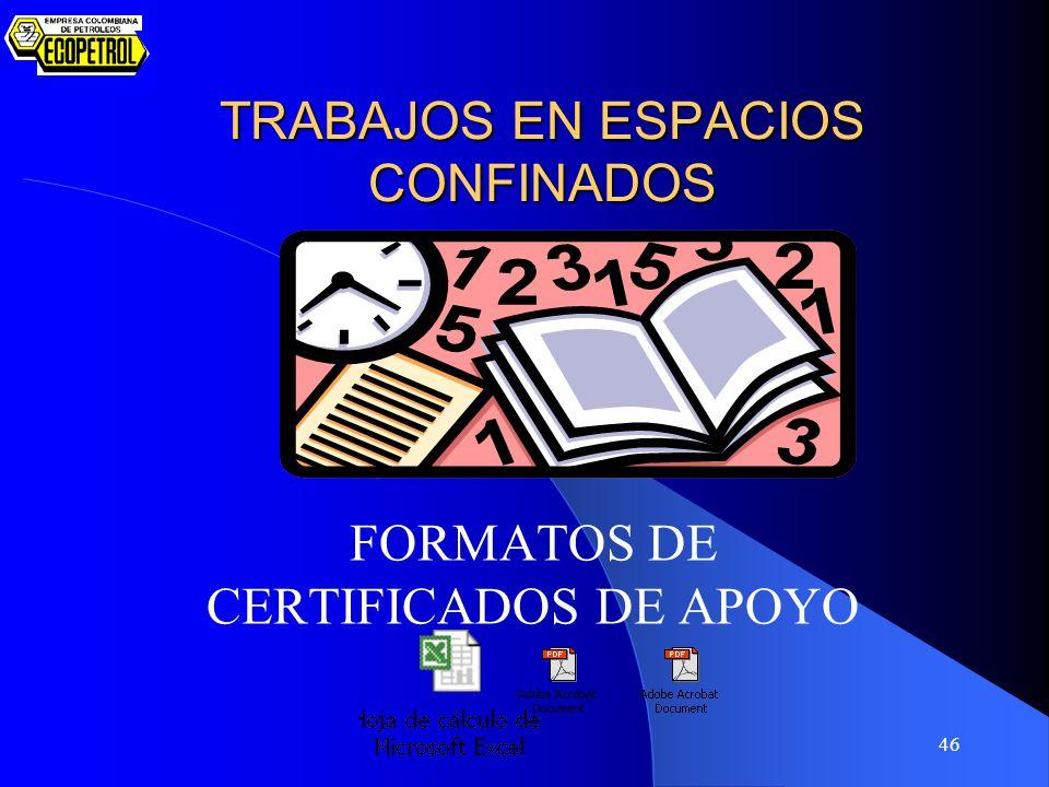 46 TRABAJOS EN ESPACIOS CONFINADOS FORMATOS DE CERTIFICADOS DE APOYO
