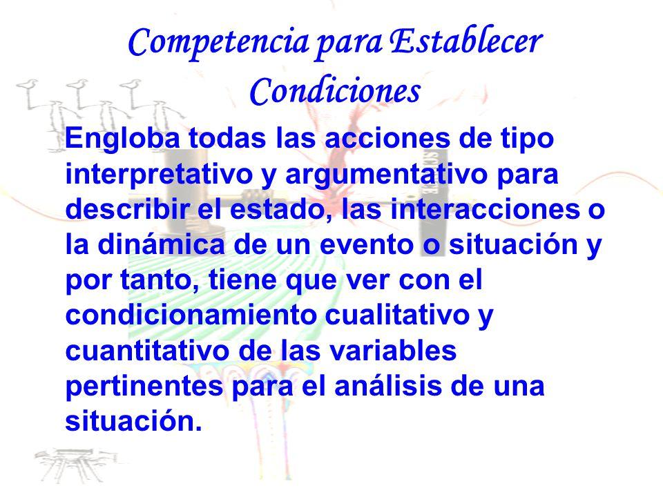 Competencia para Establecer Condiciones Engloba todas las acciones de tipo interpretativo y argumentativo para describir el estado, las interacciones