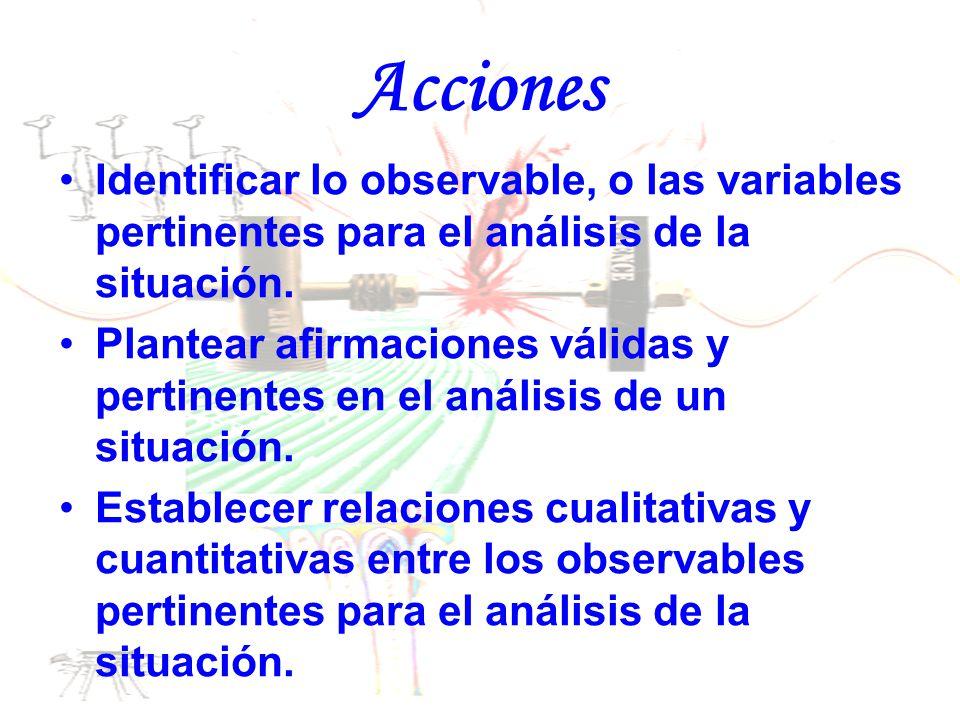 Acciones Identificar lo observable, o las variables pertinentes para el análisis de la situación. Plantear afirmaciones válidas y pertinentes en el an
