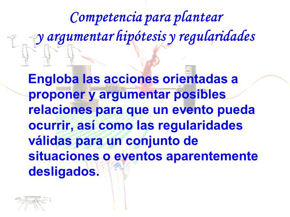 Competencia para plantear y argumentar hipótesis y regularidades Engloba las acciones orientadas a proponer y argumentar posibles relaciones para que