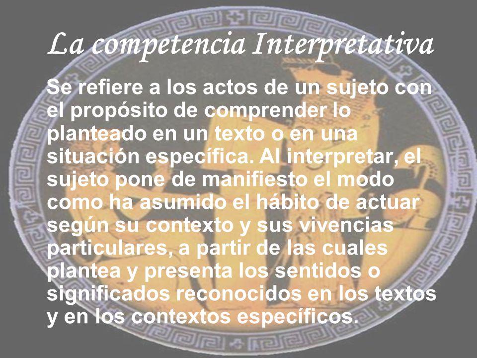 La competencia Interpretativa Se refiere a los actos de un sujeto con el propósito de comprender lo planteado en un texto o en una situación específic