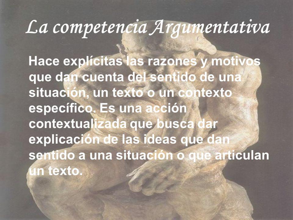 La competencia Argumentativa Hace explícitas las razones y motivos que dan cuenta del sentido de una situación, un texto o un contexto específico. Es