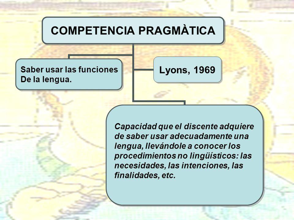 COMPETENCIA PRAGMÀTICA Capacidad que el discente adquiere de saber usar adecuadamente una lengua, llevándole a conocer los procedimientos no lingüísti