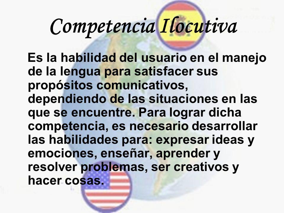 Competencia Ilocutiva Es la habilidad del usuario en el manejo de la lengua para satisfacer sus propósitos comunicativos, dependiendo de las situacion
