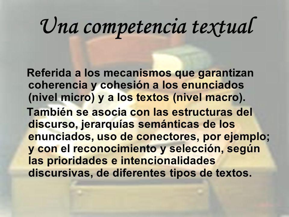 Una competencia textual Referida a los mecanismos que garantizan coherencia y cohesión a los enunciados (nivel micro) y a los textos (nivel macro). Ta